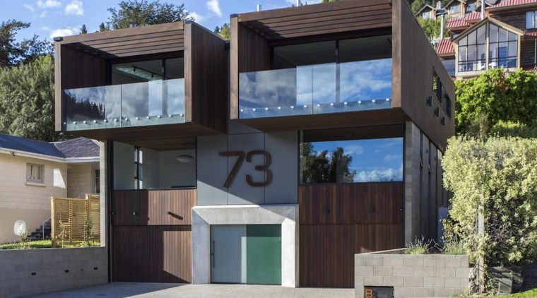 Queenstown house recognised as one of the best architecture, building, elevation, facade, home, house, property, real estate, residential area, gray, black