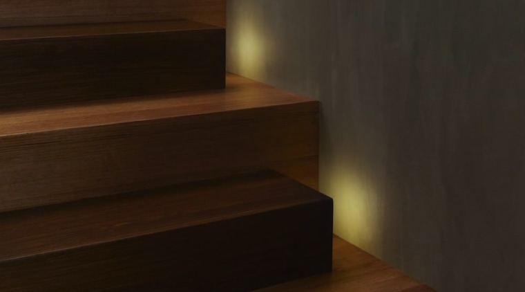 Watch your step – hidden lights face the floor, flooring, hardwood, interior design, laminate flooring, light, lighting, stairs, wall, wood, wood flooring, wood stain, brown, black