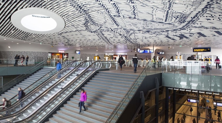 Municipal Offices and Train Station, Delft airport terminal, building, daylighting, infrastructure, leisure centre, shopping mall, structure, gray, white