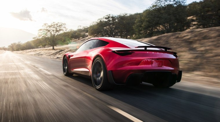 Tesla's new Roadster automotive design, automotive exterior, car, concept car, family car, luxury vehicle, mid size car, motor vehicle, performance car, personal luxury car, race car, sports car, supercar, vehicle, black, white