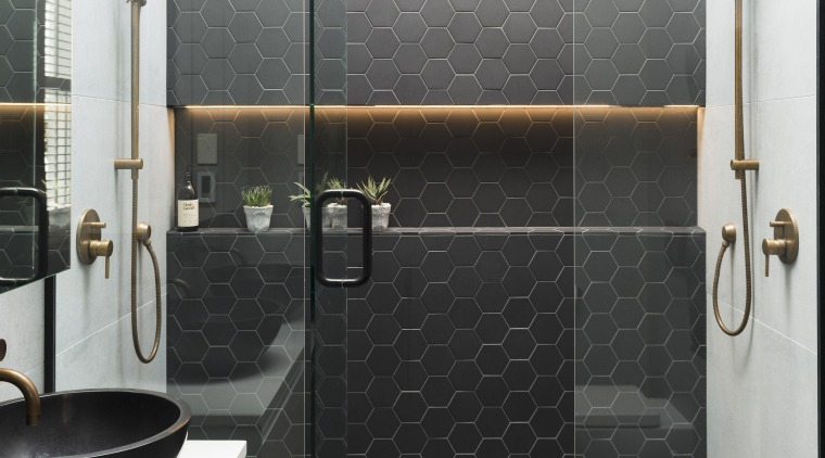 TIDA NZ 2017 – Designer suite winner – bathroom, floor, flooring, plumbing fixture, shower, tap, tile, wall, gray, white, black