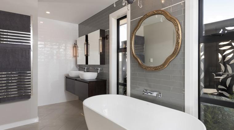 What type of feeling should the bathroom have? bathroom, floor, interior design, property, room, gray