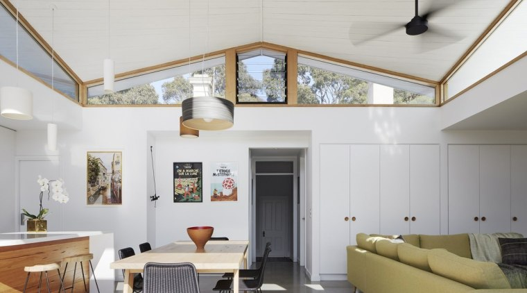 The focus for this project? Creating a light-filled architecture, ceiling, daylighting, interior design, living room, loft, gray