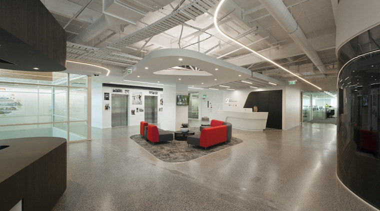 Spatial organisation and a stripped back ergonomic efficiency ceiling, floor, interior design, lobby, office, gray