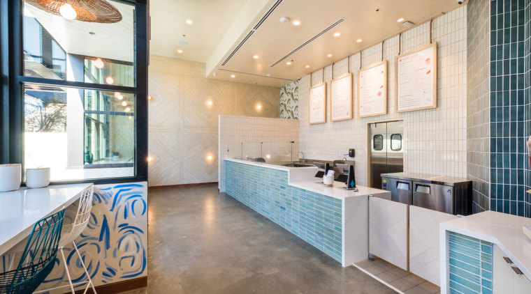 Sweetfin Poke San Diego – Mayes Office ceiling, floor, flooring, interior design, lobby, real estate, room, white