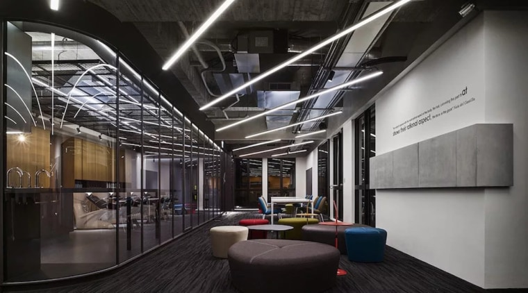 The main hallway is a feast of glass, architecture, ceiling, interior design, lobby, black, gray