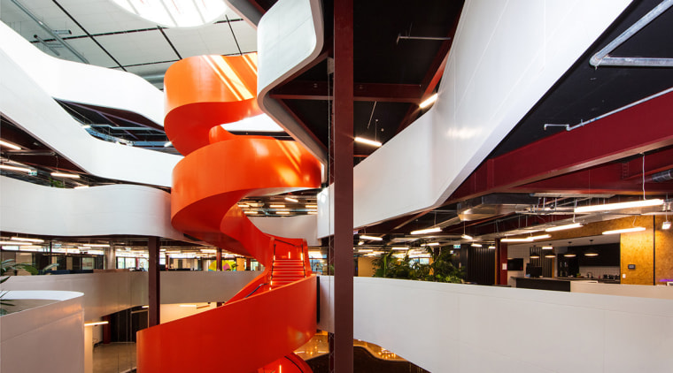 New premium, five-level office building is well set interior design