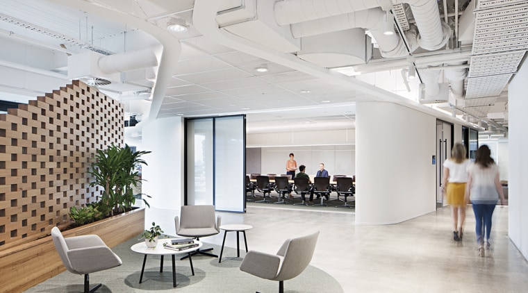 Beyond the central reception wall at ADCO Constructions' architecture, ceiling, daylighting, interior design, lobby, office, gray