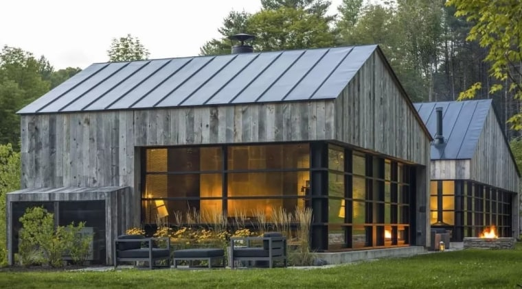 This home is inspired by the vernacular woodshed. barn, farmhouse, home, house, hut, real estate, shed, brown, gray