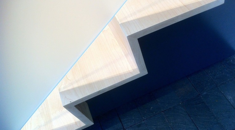 A closer view of the staircase angle, architecture, daylighting, daytime, line, product design, sky, stairs, structure, triangle, white, blue