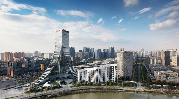 Icon Yuanduan Tower building, city, cityscape, cloud, condominium, daytime, downtown, horizon, landmark, metropolis, metropolitan area, reflection, sky, skyline, skyscraper, tower block, urban area, water, gray