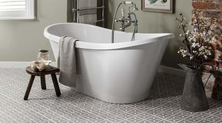 Use a freestanding tub to open your bathroom bathroom, bathtub, ceramic, floor, flooring, plumbing fixture, product, product design, tap, gray