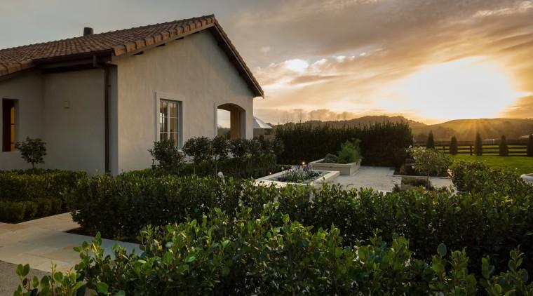 Gardens cloud, cottage, estate, evening, grass, home, house, landscape, property, real estate, rural area, sky, sunlight, tree, villa, brown, black
