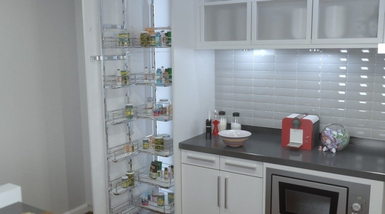 Giamo Tall Chef Larder with Solid Base Shelves countertop, home appliance, interior design, kitchen, kitchen appliance, major appliance, refrigerator, shelving, gray