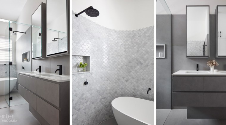 Bathrooms come in all shapes and sizes and bathroom, bathroom accessory, bathroom cabinet, floor, home, interior design, plumbing fixture, room, sink, tap, tile, white, gray