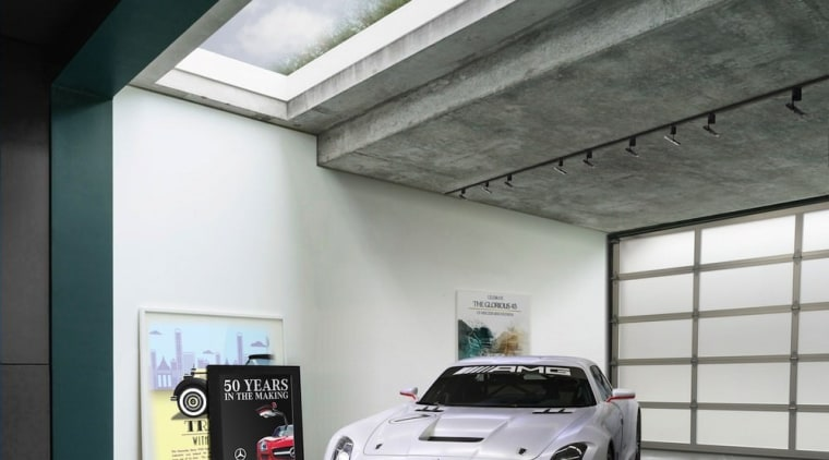 Glimpse the green roof through the skylight automotive design, automotive exterior, building, car, garage, luxury vehicle, mercedes benz, mercedes benz sls amg, motor vehicle, performance car, personal luxury car, sports car, vehicle, gray, black