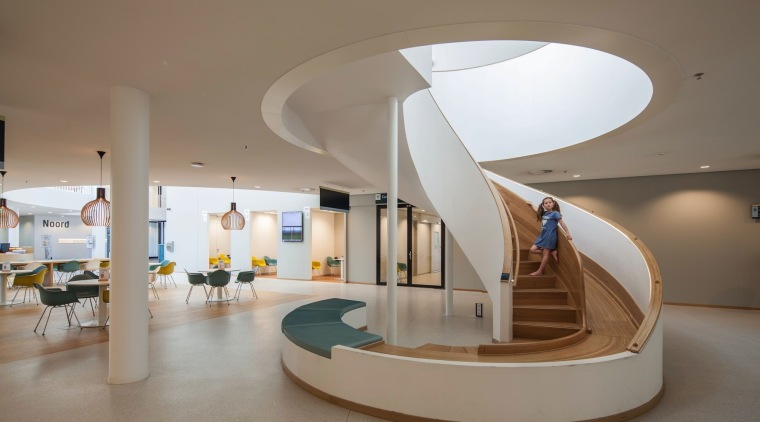 Zaans Medical Centre – Mecanoo architecture, ceiling, daylighting, furniture, interior design, lobby, product design, table, gray, brown
