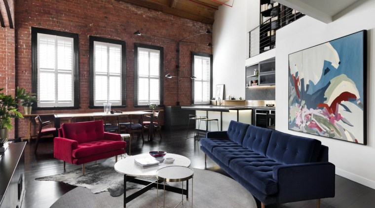 You can easily move from the lounge into furniture, interior design, living room, loft, table, white