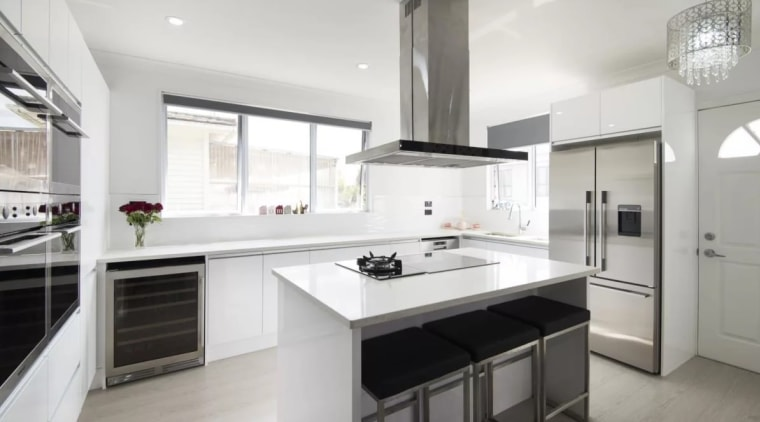 Having trouble choosing an extractor fan? cabinetry, countertop, cuisine classique, home appliance, interior design, kitchen, property, real estate, room, white, gray