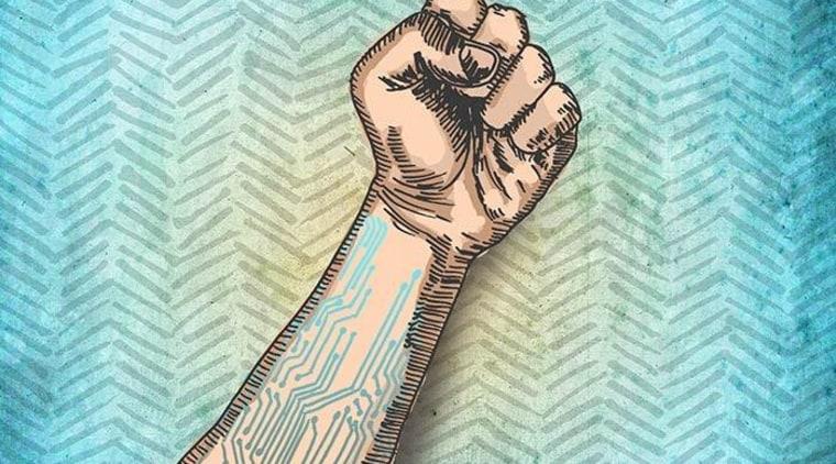 The digital world is an analytical animal that arm, art, design, finger, hand, human leg, joint, leg, pattern, temporary tattoo, teal