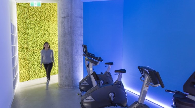 The warm-up room blue, gym, interior design, leisure, room, sport venue, structure, blue