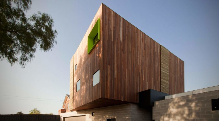 Another view of the box form of the architecture, building, facade, house, sky, wood, brown
