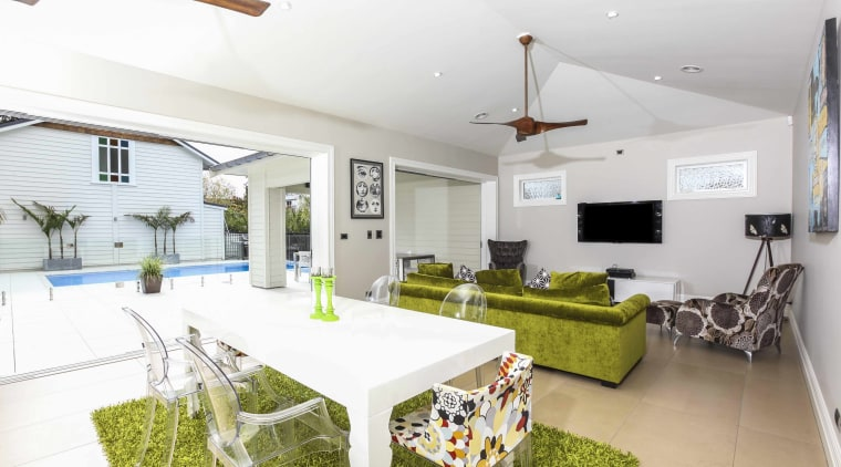It's easy to access the outdoor area from estate, home, house, interior design, living room, property, real estate, white
