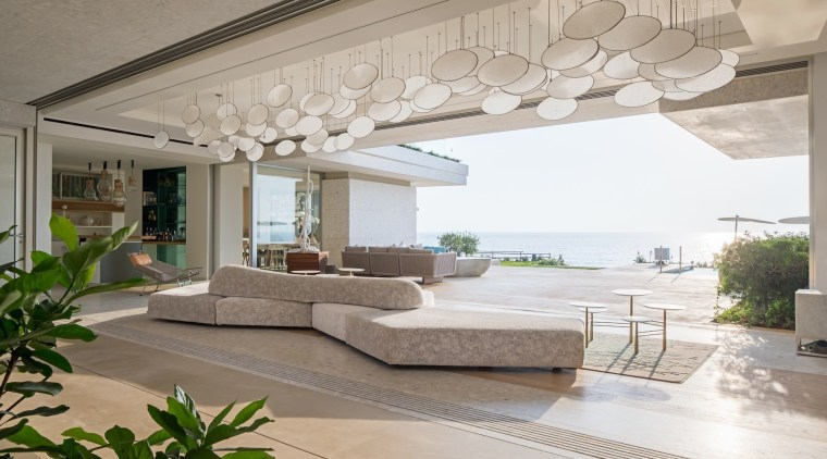 This lounge faces directly out to sea ceiling, estate, floor, home, interior design, living room, property, real estate, gray