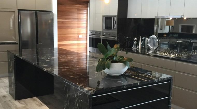 Centre Stage cabinetry, countertop, cuisine classique, floor, flooring, hardwood, interior design, kitchen, gray, black