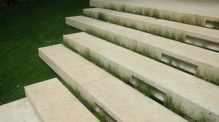 Stone steps connect the different areas grass, walkway, wall, wood, orange