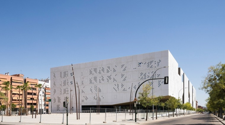 Palace of Justice building | Mecanoo + Ayesa architecture, building, commercial building, corporate headquarters, daytime, facade, mixed use, neighbourhood, residential area, sky, structure, teal, gray