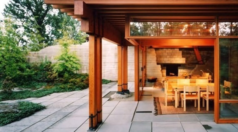 Wood And Clerestory Windows Have Been Used To Backyard, Door, Home, House,