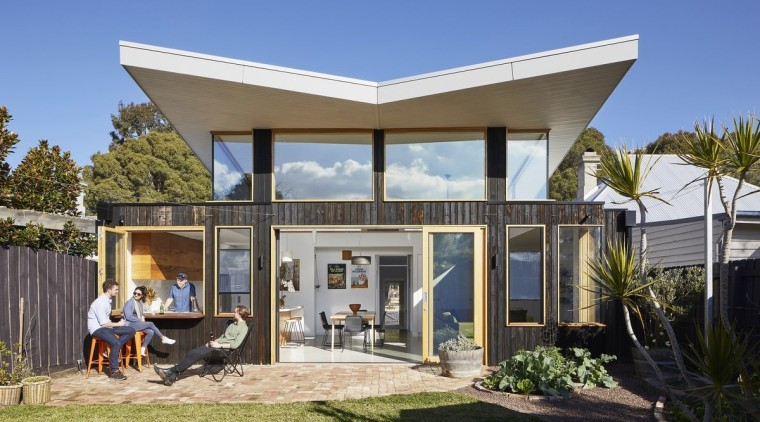 From the rear, the role sunlight played in architecture, cottage, elevation, estate, facade, home, house, property, real estate, villa, blue