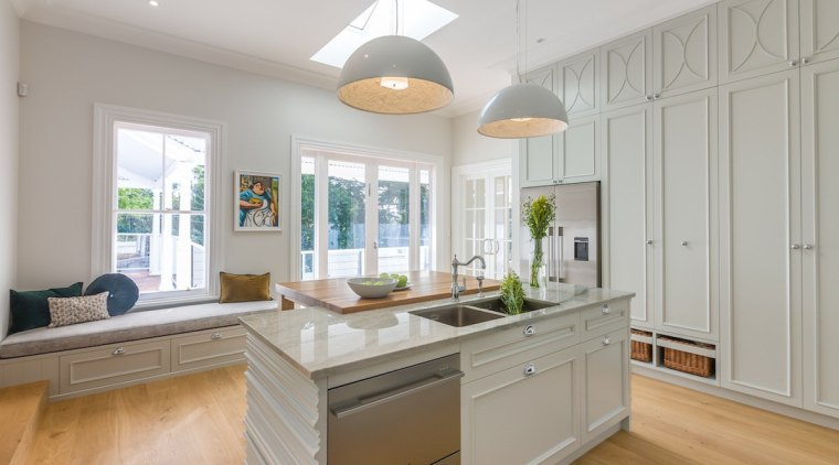 Moving the dishwashers to the island is a cabinetry, ceiling, countertop, cuisine classique, estate, floor, home, interior design, kitchen, property, real estate, room, window, gray
