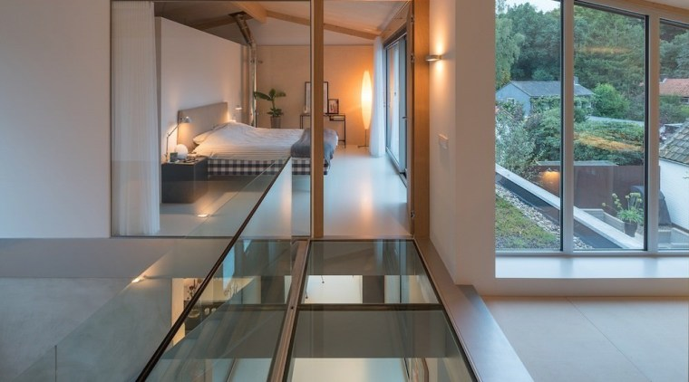 A view of the glass floor architecture, daylighting, glass, handrail, house, interior design, real estate, window, gray