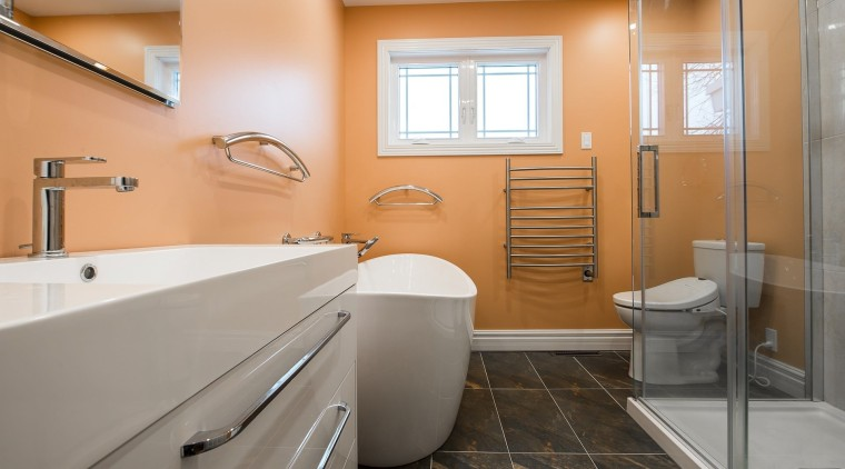 Increasing natural light is an effective way of bathroom, floor, home, interior design, real estate, room, gray, orange