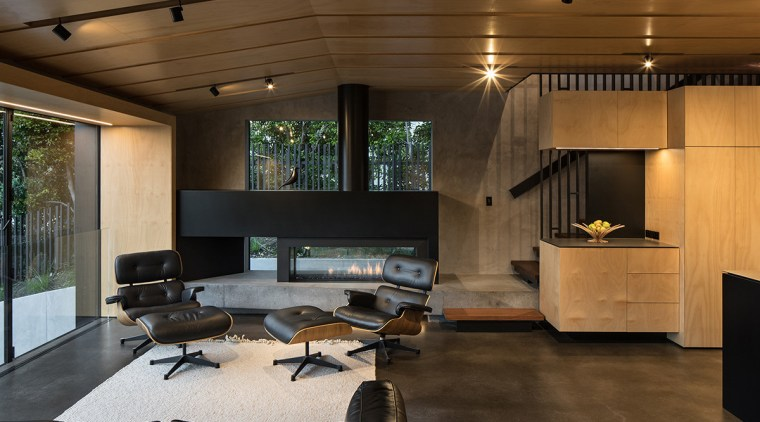 Sculptural kitchen at the heart of the home architecture, ceiling, floor, house, interior design, living room, lobby, brown