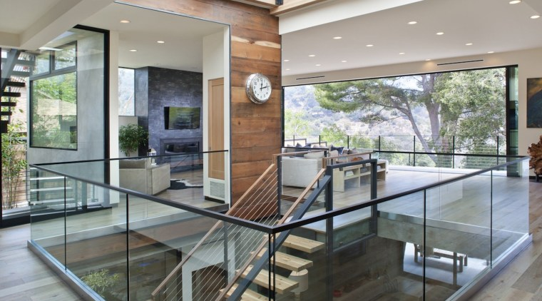 A six panel skylight sends the sun down architecture, daylighting, floor, glass, handrail, house, interior design, real estate, window, gray