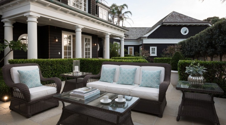Outdoor living backyard, courtyard, estate, furniture, home, house, interior design, living room, luxury vehicle, outdoor structure, patio, property, real estate, black, gray