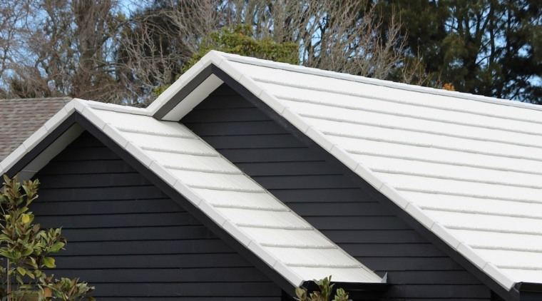 Metrotile metal panels daylighting, facade, home, house, real estate, roof, siding, window, black, white