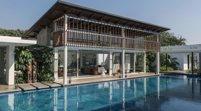 Architect: ADNDPhotography by Sebastian Zachariah architecture, estate, family car, home, house, property, real estate, resort, swimming pool, villa, teal