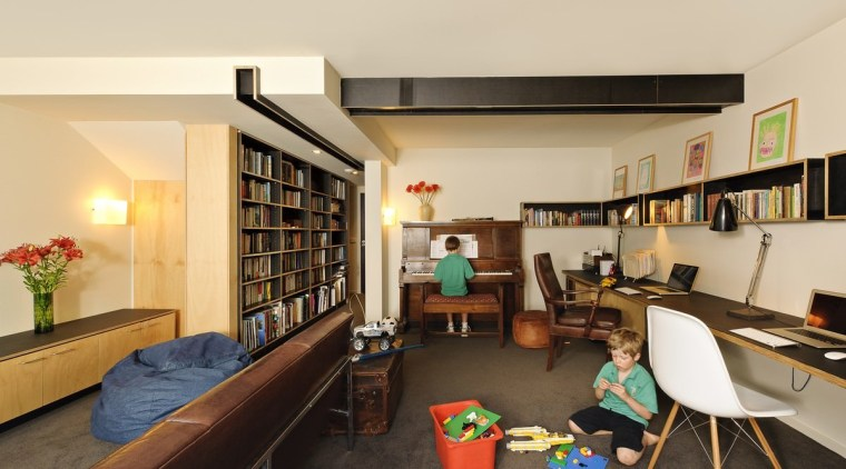 A study has room for two or even interior design, living room, real estate, room, orange