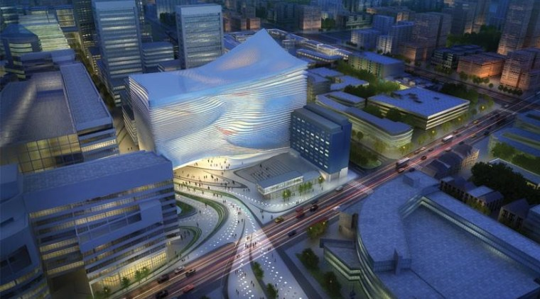 Dance & Music Center, The Hague aerial photography, architecture, biome, bird's eye view, city, cityscape, landmark, metropolis, metropolitan area, mixed use, screenshot, sky, skyscraper, suburb, urban area, urban design, blue