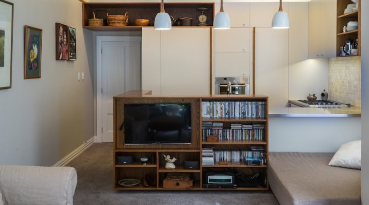 TIDA NZ 2017 – Designer kitchen entrant – bookcase, furniture, home, interior design, living room, property, real estate, room, shelf, shelving, wall, gray