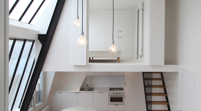 This is a symmetrical loft, with two bedrooms architecture, daylighting, floor, home, house, interior design, loft, room, gray, white