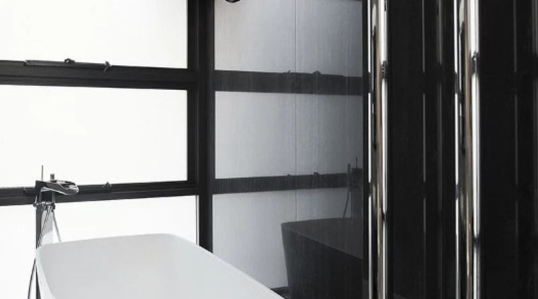 Mili Pure vertical heated towel rail bathroom, floor, interior design, plumbing fixture, room, black, white