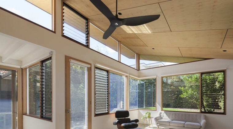 This designer fan draws the eye architecture, ceiling, daylighting, house, interior design, lighting, living room, real estate, window, gray, brown