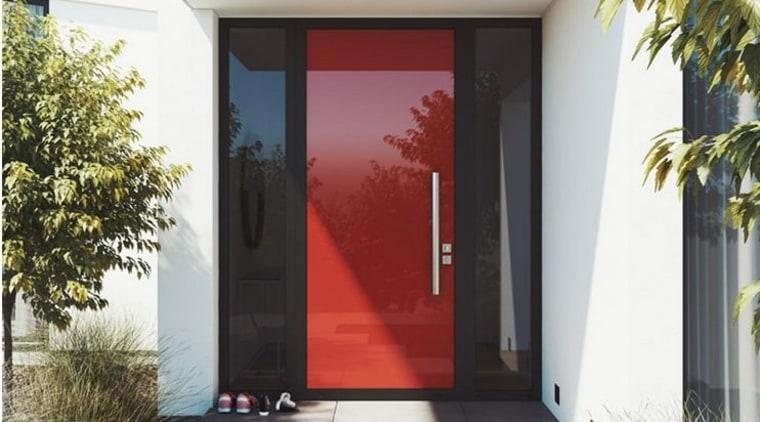 Element door in Lobster red door, facade, home, house, interior design, property, real estate, window