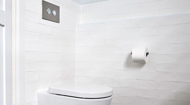 Cisterns provide a clean, unbroken look bathroom, bathroom accessory, bathroom cabinet, bathroom sink, bidet, ceramic, floor, plumbing fixture, tap, tile, toilet, toilet seat, wall, white