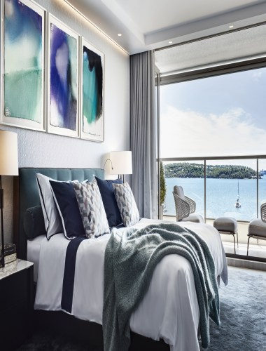 This master bedroom features watercolours by one of apartment, architecture, bedroom, furniture, home, interior design, suite, table, paintings, Archer Design